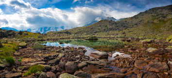 Panorama of small high mountain lake Royalty Free Stock Photos