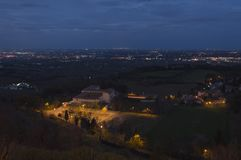 Panorama of small idyllic italian town by night stock photo