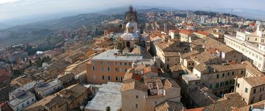 Panorama of small italian city Macerata. Panorama of the small italian city Macerata in the Marche region royalty free stock images