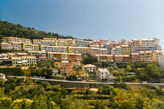 Panorama of small italian city in rock near the sea Stock Photo