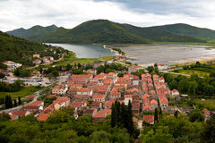 Panorama of small mediterranean village Stock Photos