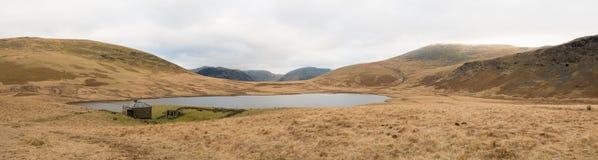 Panorama of small mountain lake Royalty Free Stock Photography