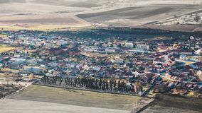 Panorama of a small old European town Spisske Podhradie many small houses, tilt-shift effect. Photo in retro style royalty free stock photos