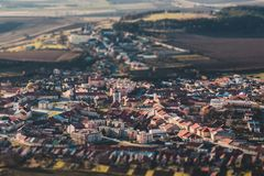 Panorama of a small old European town, tilt shift effect.  royalty free stock photo