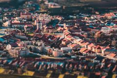 Panorama of a small old European town, tilt-shift effect.  stock image
