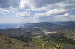 Panorama of a small resort town in Crimea from the top of the mo Royalty Free Stock Photography