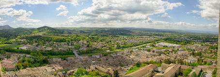 Panorama of the small town of Crest in the Drome, France. A panorama of the small town of Crest in the Drome, France royalty free stock image