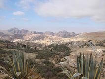 The eastern desert part of Jordan. Landscapes of stone deserts and rocks along the road to Petra. stock images