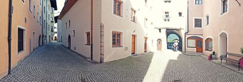 Morning in small town Kufstein, Tyrol area Stock Photography