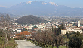 Panorama of a small town in northern Italy with a background of Stock Images