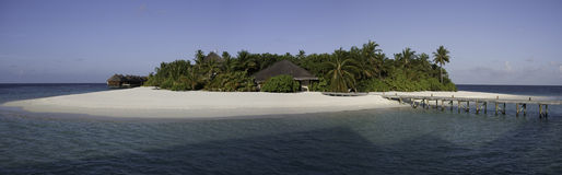 Panorama of a small tropical island, Maldives royalty free stock images