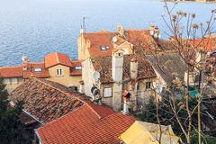 Panorama of small village in Croatia stock images