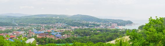 Panorama of a small village royalty free stock photography