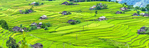 Panorama small village on steppe terraces Royalty Free Stock Photos