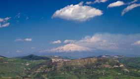 Panorama of the snow capped Etna Stock Images