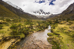Panorama of snow-covered Andes mountains and river Stock Images