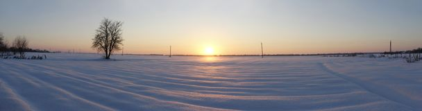 panorama of snow-covered field. royalty free stock images