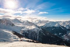 Val d`Anniviers winter panorama. Panorama of the snow covered mountains of the Val D`anniviers, Valais, Switzerland royalty free stock photography