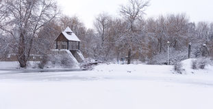 Panorama of the snow-covered park Stock Photo