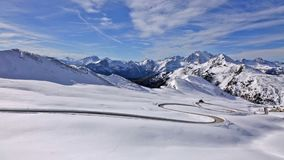 Panorama of snow landscape of Passo Giau, Dolomites, Italy stock video