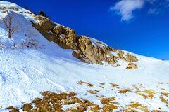 Panorama of snow mountain on a frosty sunny day, Ai-Petri, Crimea Russia stock photography