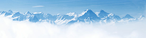 Panorama of Snow Mountain Landscape Alps. Panorama of Snow Mountain Landscape with Blue Sky from Pilatus Peaks Alps Lucern Switzerland Royalty Free Stock Photo