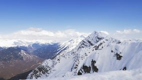 Panorama of Snow Mountain Range Landscape with Blue Sky. Panorama of Snow Mountain Range Landscape with Blue Sky stock video