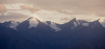 Panorama snow mountain sunset Royalty Free Stock Image