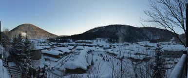 The panorama of Snow Village in Heilongjiang Royalty Free Stock Images