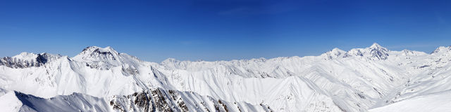 Panorama of snow winter mountains Stock Images