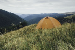Orange tent in carpathian mountains. Orange tent in high grass in carpathian mountains Royalty Free Stock Images