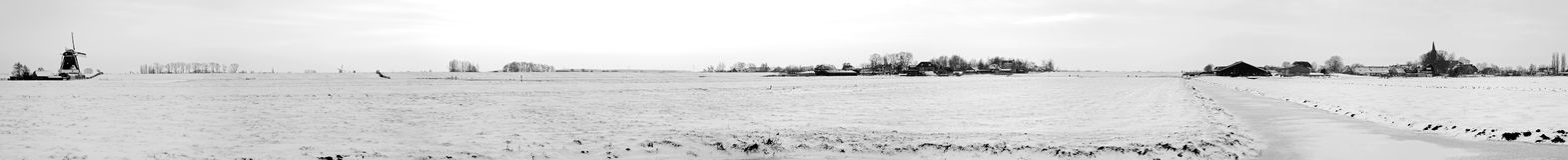 Panorama from snowy countryside in Netherlands Stock Photo