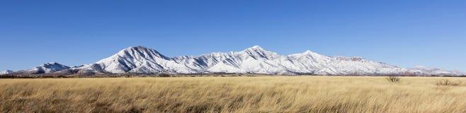 A Panorama of the Snowy Huachuca Mountains Stock Photos