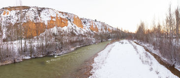 Panorama of Snowy Landscape with River Stock Image