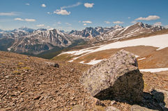 Panorama of snowy mountain range Stock Photos