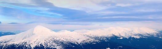 Panorama snowy mountain range. Stock Photography