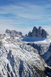 Panorama of snowy mountain summits Stock Images