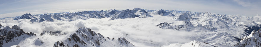 Panorama of snowy mountains Royalty Free Stock Photography