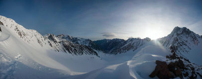 Panorama of snowy mountains of Kyrgyzstan. Kyrgyz Range Stock Photos