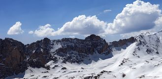 Panorama of snowy mountains in nice sun day Royalty Free Stock Image