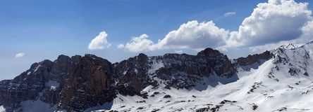 Panorama of snowy mountains in spring sunny day Royalty Free Stock Images