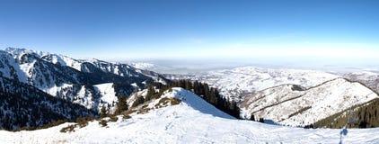 Panorama of Snowy winter in mountain Kazakhstan Stock Photo