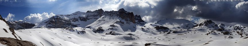 Panorama of snowy winter mountains Stock Photography
