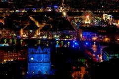 Panorama sobre Lyon en la noche Imagen de archivo libre de regalías