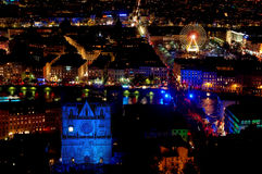 Panorama sobre lyon na noite Imagem de Stock Royalty Free