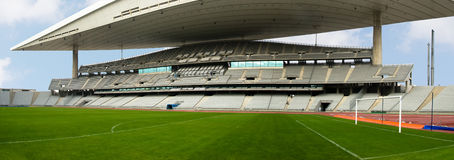 Panorama of soccer stadium Stock Photos