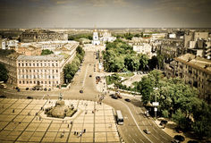 Panorama of St. Sophia square in Kyiv. Beautiful panorama view of Kyiv Stock Images
