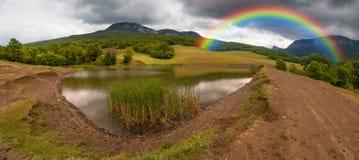 Panorama of Sokolinoe lake Stock Photography