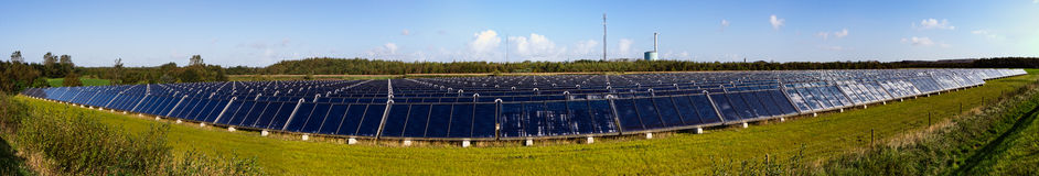 Panorama of Solar heating plant stock photos