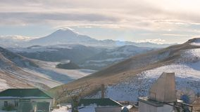 Panorama of the solar observatory on Mount Shatjatmas in the North Caucasus. Russia on the yfon of the Caucasian ridge